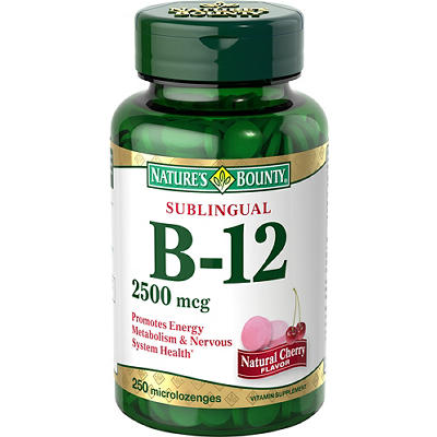 Nature's Bounty Vitamin B-12  2,500mcg Sublingual Microlozenges, 250 c