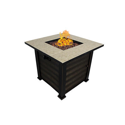 "Summerville Marbella 30"" Fire Pit Table - Black/Brown"