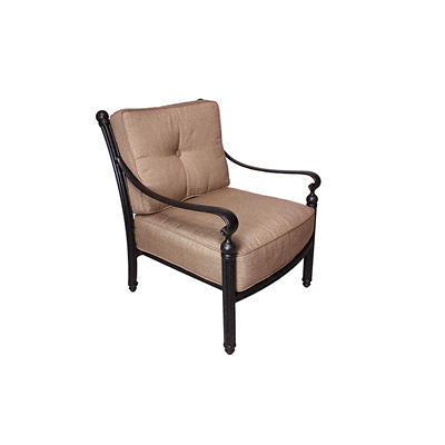 Summerville Empirial Cushioned Patio Club Chair - Antique Bronze/Sesam