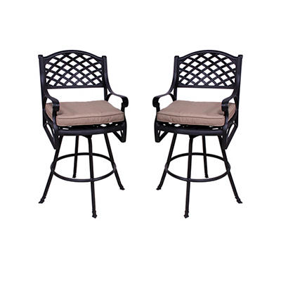 Summerville La Jolla Cushioned Barstools, 2 pk. - Antique Bronze/Heath