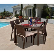 Atlantic Panama 7-Pc. Outdoor Dining Set - Brown/Off-White