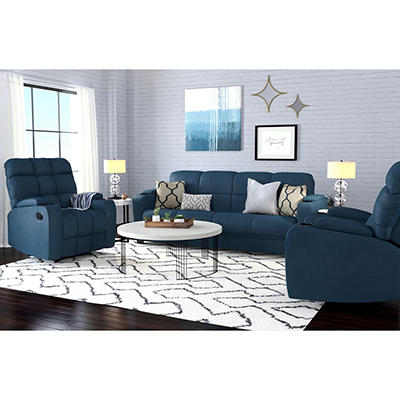 Handy Living 3-Pc. Storage Convert-a-Couch and Recliner Set - Blue