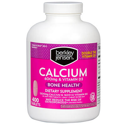 Berkley Jensen 600mg Calcium with 400 IU Vitamin D3 Tablets, 400 ct.