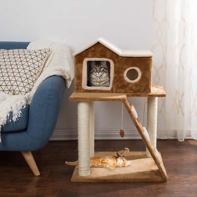 PETMAKER 3-Tier Cat Tree with Ladder and Condo - Tan/Brown
