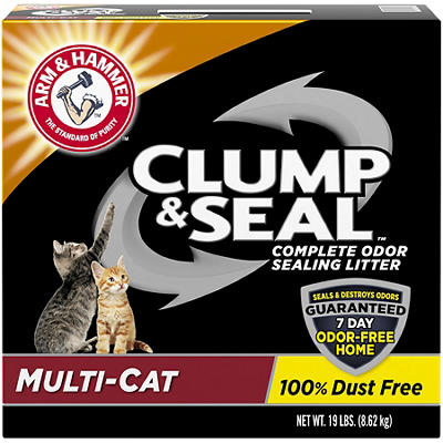 Arm & Hammer Clump & Seal Complete Odor Sealing Litter, Multi-Cat, 19