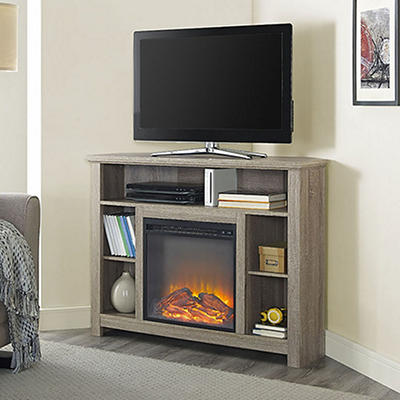 "W. Trends 44"" Corner Highboy Fireplace TV Stand - Driftwood"