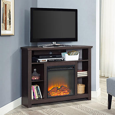"W. Trends 44"" Corner Highboy Fireplace TV Stand - Espresso"