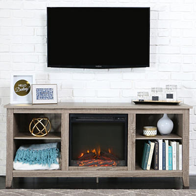 "W. Trends 58"" Fireplace TV Stand Console - Driftwood"