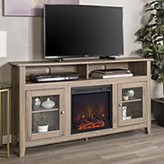 """W. Trends 58"""" Transitional Glass Door Fireplace Tall TV Stand for Most TV's up to 65"""" - Driftwood"""