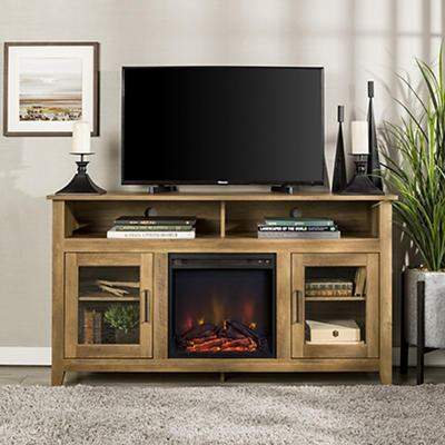 "W. Trends 58"" Wood Highboy Fireplace Media TV Stand Console - Rustic O"