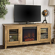 "W. Trends 58"" Traditional Glass Door Fireplace TV Stand for Most TV's up to 65"" - Barnwood"