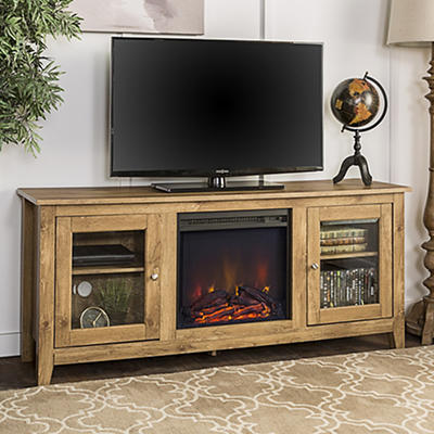 "W. Trends 58"" Wood Media TV Stand Console with Fireplace - Barnwood"