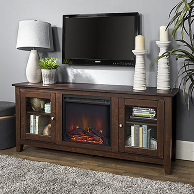 "W. Trends 58"" Wood Media TV Stand Console with Fireplace - Brown"