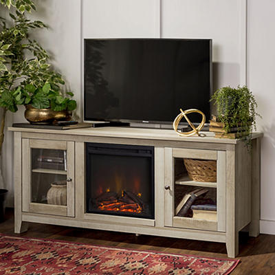 "W. Trends 58"" Wood Media TV Stand Console with Fireplace - White Oak"