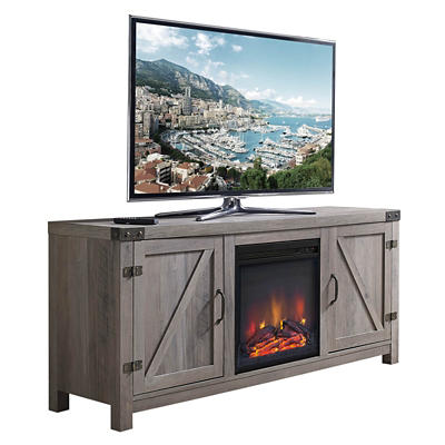 "W. Trends 58"" Barn Door Fireplace TV Stand - Gray Wash"