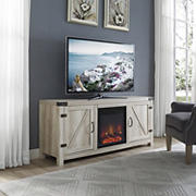 "W. Trends 58"" Farmhouse Barn Door Fireplace TV Stand for Most TV's up to 65"" - White Oak"