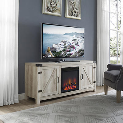 "W. Trends Emerson 58"" Fireplace TV Stand for TVs Up to 65"" - White Oak"