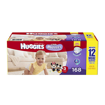 Huggies Little Movers Step 3 Diapers, 168 ct.