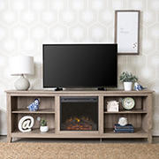 """W. Trends 70"""" Rustic Open Storage Fireplace TV Stand or TVs up to 80"""" - Driftwood"""