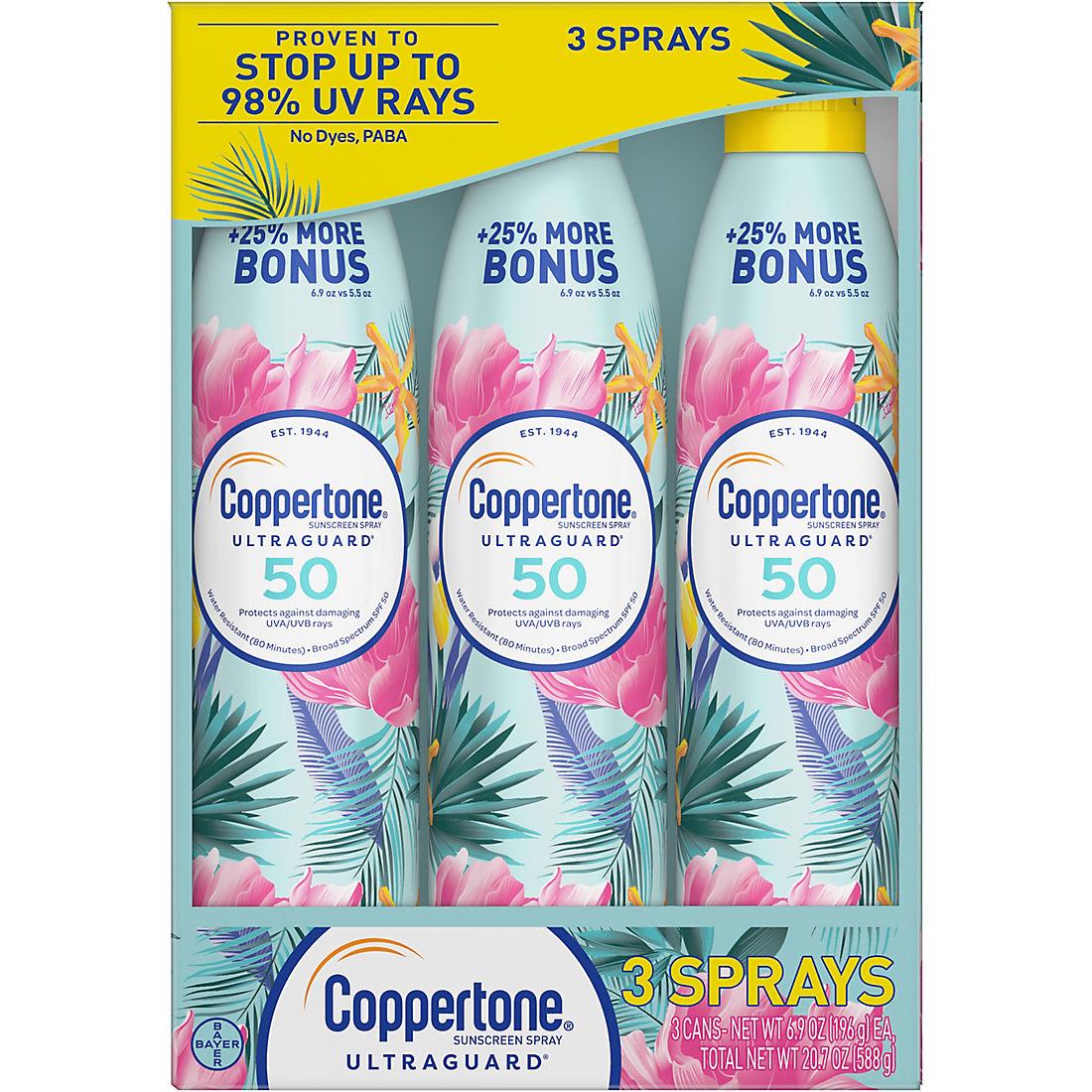Coppertone Ultra Guard Broad-Spectrum SPF 50 Sunscreen Spray, 3 pk /6 9 oz