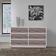 Ameriwood Home Colebrook 6-Drawer Dresser - Vintage White Rustic