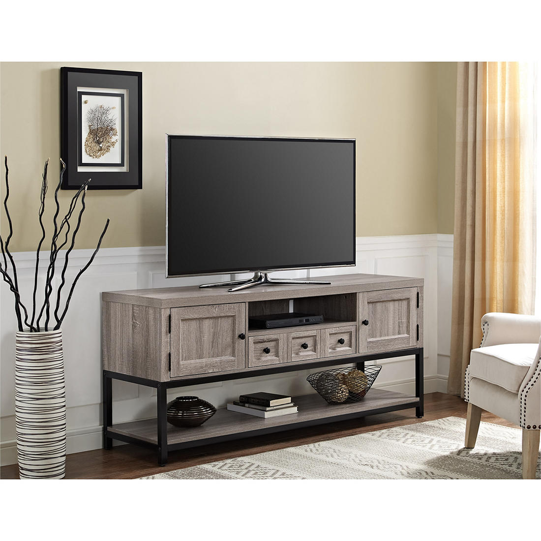 Strange Ameriwood Home Barrett 64 Multipurpose Tv Console Weathered Oak Interior Design Ideas Ghosoteloinfo