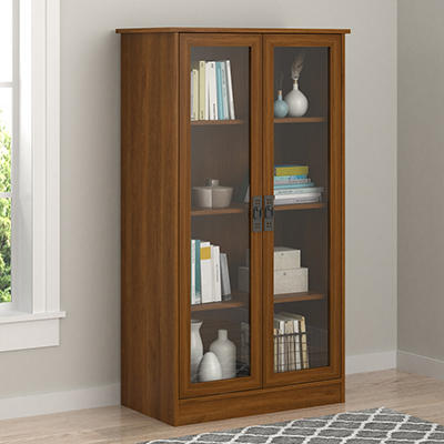 Ameriwood Home Quinton Point 4-Shelf Bookcase with Glass Doors - Brown