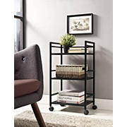 Ameriwood Home Marshall 3-Shelf Metal Rolling Cart - Black