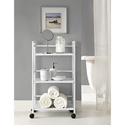 Ameriwood Home Marshall 3-Shelf Metal Rolling Cart - White
