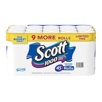 Scott 1,000-Sheet 1-Ply Bath Tissue, 45 pk.