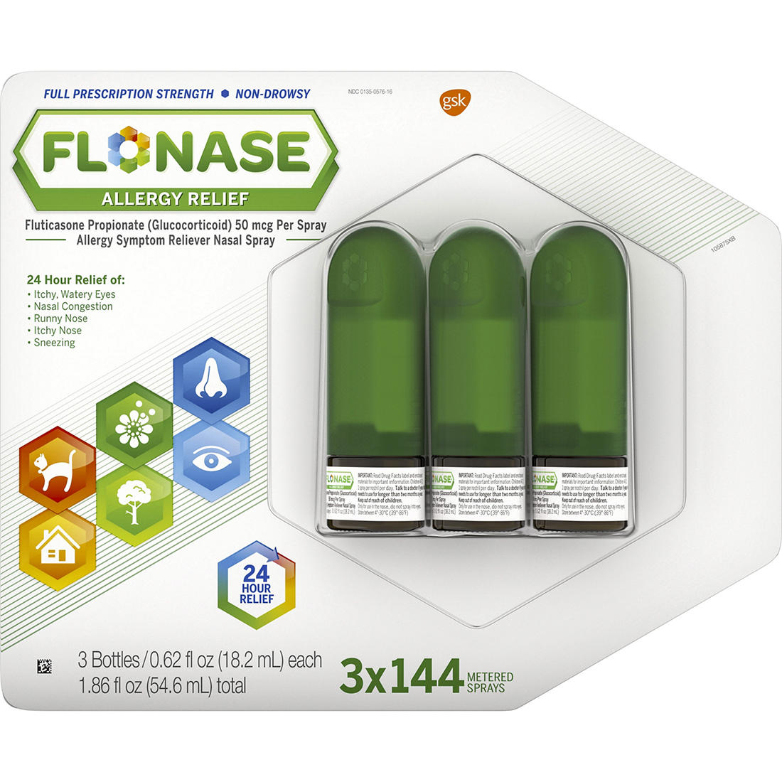 graphic about Flonase Coupon Printable identified as Flonase Allergy Reduction Nose Spray, 3 pk./0.62 fl. oz.