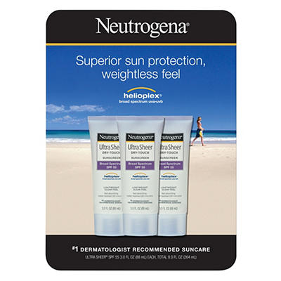 Neutrogena Ultra Sheer Dry-Touch Sunscreen Broad Spectrum SPF 55, 3 pk