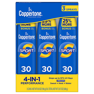 Coppertone Sport Broad-Spectrum SPF 30 Sunscreen Spray, 3 pk./6.9 oz.