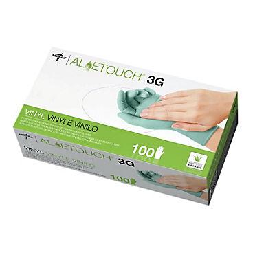 Medline AloeTouch 3G Medium Synthetic Vinyl Exam Gloves, 100 ct. - Gre