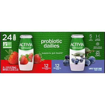 Dannon Activia Probiotic Dailies Low-Fat Yogurt Drink Variety Pack, 24