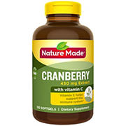 Nature Made 450mg Super Strength Cranberry with Vitamin C Softgels, 180 ct.