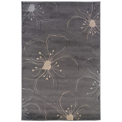 Linon Milan Collection 5' x 8' Rug - Gray Floral Sketch