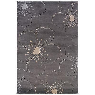 Linon Milan Collection 5' x 8' Rug - Gray Floral Sketch