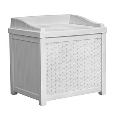 Suncast 22-Gal. Resin Wicker Deck Box - White