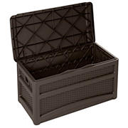 Suncast 73-Gal. Resin Wicker Deck Box with Wheels - Brown