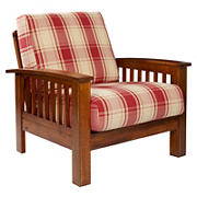 Handy Living Omaha Mission Style Wood Arm Chair - Red Plaid
