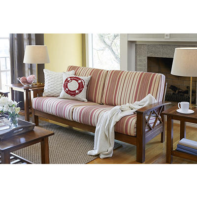 Handy Living Virginia X-Design Sofa - Red Stripe