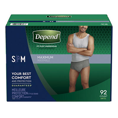 Depend Fit-Flex Small/Medium Maximum Absorbency Underwear for Men, 92