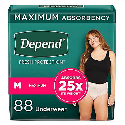Depend Fit-Flex Medium Maximum Absorbency Underwear for Women, 88 ct.