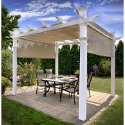 New England Arbors Malibu 10' x 10' Vinyl Pergola with Canopy - White
