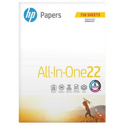 HP All-In-One Printing Paper, 96 Brightness, 22 lb., Letter, 1 Ream, 7