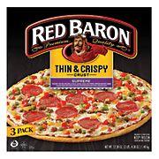 Red Baron Thin & Crispy Crust Pizza, 3 pk./17.46 oz.