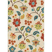 "Orian Rugs Indoor/Outdoor Garden Chintz Area 5'2"" x 7'6"" Rug, Ivory"
