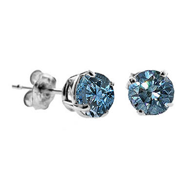 1.00 Carat Round Blue Diamond Stud Earrings in 14k White Gold