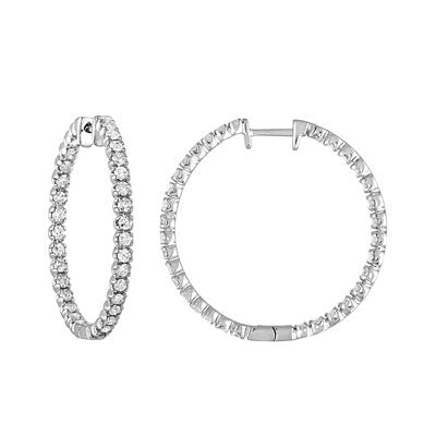 Amairah 2.00 Carat Round Inside-Out Diamond Hoop Earrings in 14k White